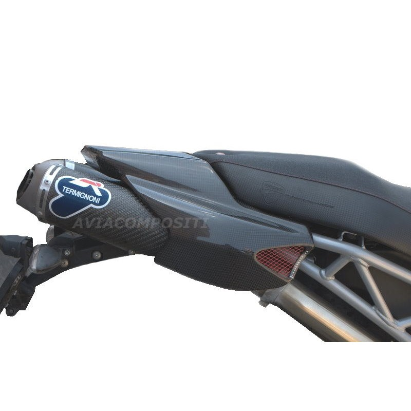 Carbon fiber tail for ducati hypermotard 1100 796 twin exhaust with led rear light 2